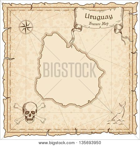Uruguay Old Pirate Map. Sepia Engraved Template Of Treasure Map. Stylized Pirate Map On Vintage Pape