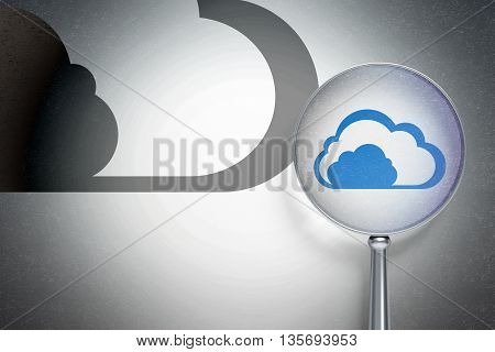 Cloud computing concept: magnifying optical glass with Cloud icon on digital background, empty copyspace for card, text, advertising, 3D rendering