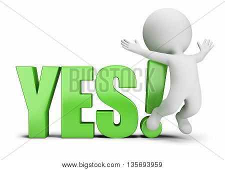 3d small person jumping next to yes. 3d image. White background.