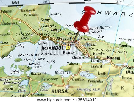 Map of Turkey, with focus set on Istanbul.