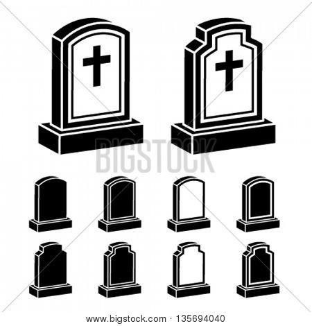 3d tombstone cross black symbol vector