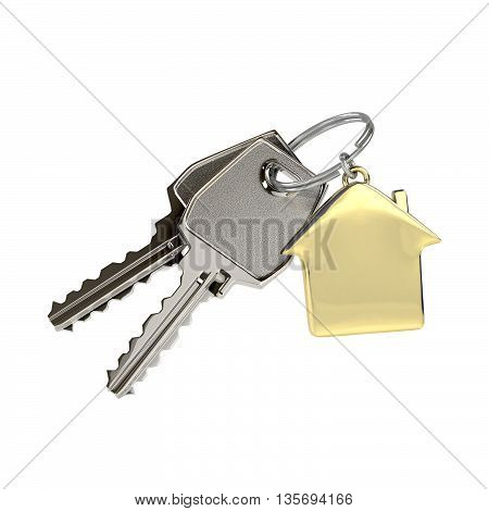 Two keys on a ring with a green plastic house chain. Concept of buying or renting a house new home. Photo-realistic. 3D illustration.