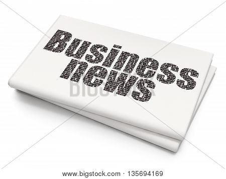 News concept: Pixelated black text Business News on Blank Newspaper background, 3D rendering