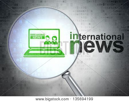 News concept: magnifying optical glass with Breaking News On Laptop icon and International News word on digital background, 3D rendering
