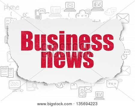 News concept: Painted red text Business News on Torn Paper background with Scheme Of Hand Drawn News Icons