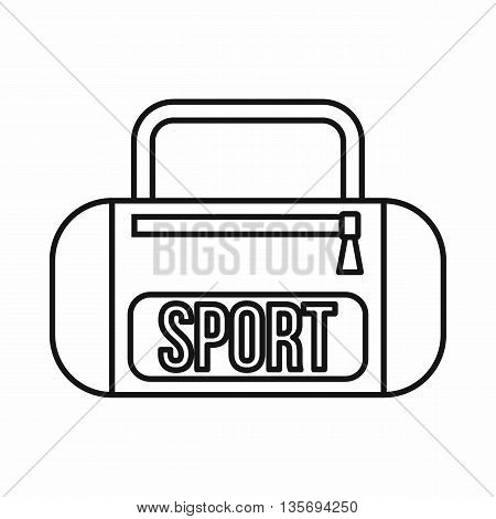 Sports bag icon in outline style isolated on white background