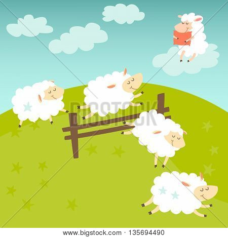 Counting sheep. Cartoon happy sheep for baby. Cartoon character sheep on meadow. Sweet dreams. Jumping sheep insomnia. Vector illustration