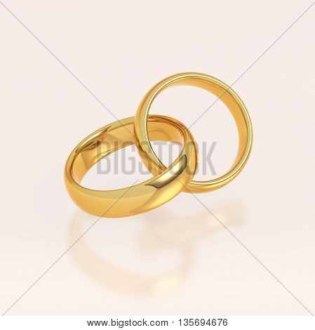 Two golden wedding rings in a heart shape on pink background. Love and marriage concept. 3D illustration.