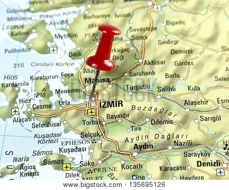Map with pin set on Izmir, Turkey.