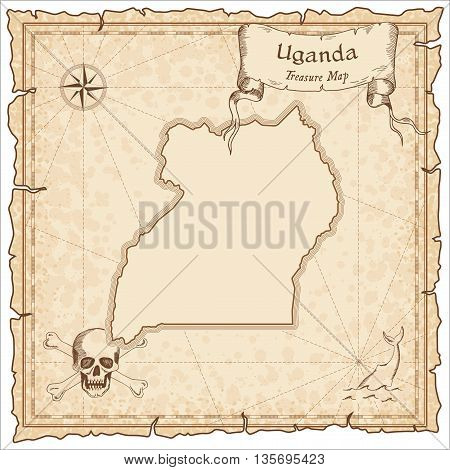 Uganda Old Pirate Map. Sepia Engraved Template Of Treasure Map. Stylized Pirate Map On Vintage Paper