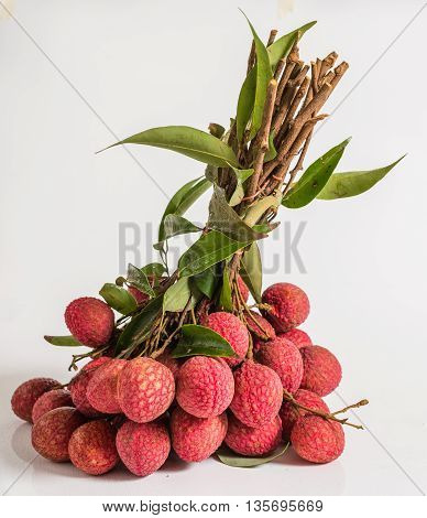 Delicious tropical fruit Lychee in studio shot