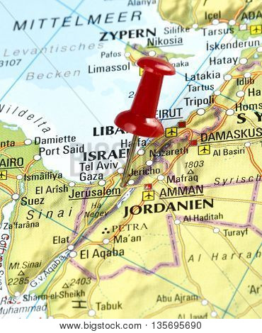 Map with pin set on Jerusalem, Israel.