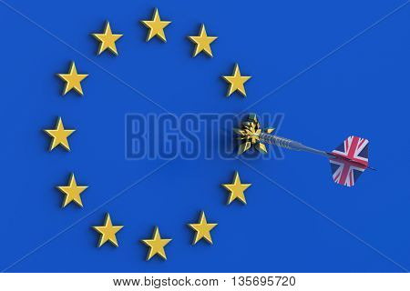 Brexit concept in the Great Britain 3D rendering