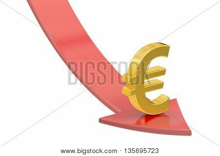 Falling red arrow with symbol of euro crisis concept. 3D rendering isolated on white background