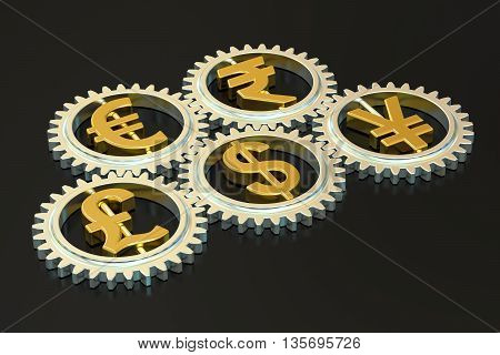 global currencies concept 3D rendering isolated on black background