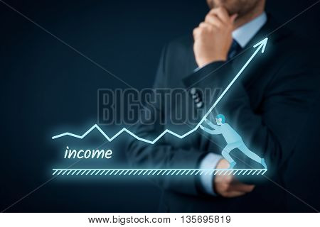 Increase income concept. Chief Financial Officer (CFO shareholder) plan income growth represented by graph.