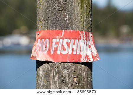 No fishing sign posted on a pole at a lake.