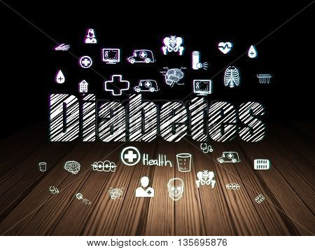 Healthcare concept: Glowing text Diabetes,  Hand Drawn Medicine Icons in grunge dark room with Wooden Floor, black background