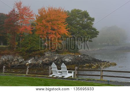 Foggy fall morning in Bar Harbor Maine, USA