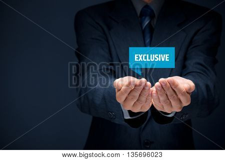 Exclusive offer and exclusivity business model. Businessman hold virtual label with text exclusive.