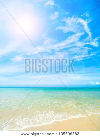 Beautiful sky with sea on the peaceful beach for relax, beach background.