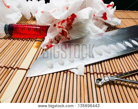 Paper Bloody Syringes And Instruments..injuries Ulceration, Bleeding.murderous