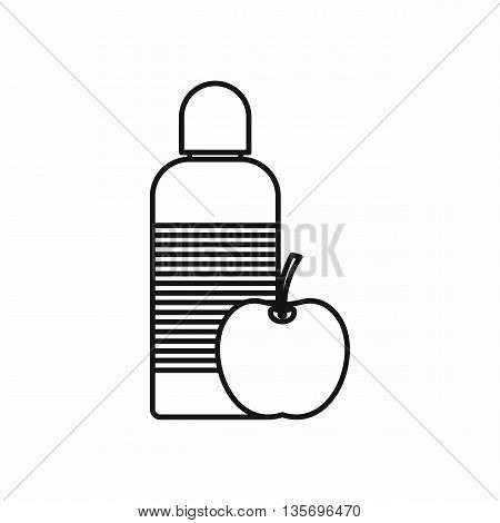 Bottle of water and apple icon in outline style isolated on white background