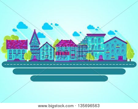 Colection of houses in a row, city street, bright colored vector houses, flat design, flat houses, EPS 10