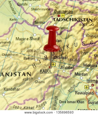 Map with pin set on Kabul, Pakistan.