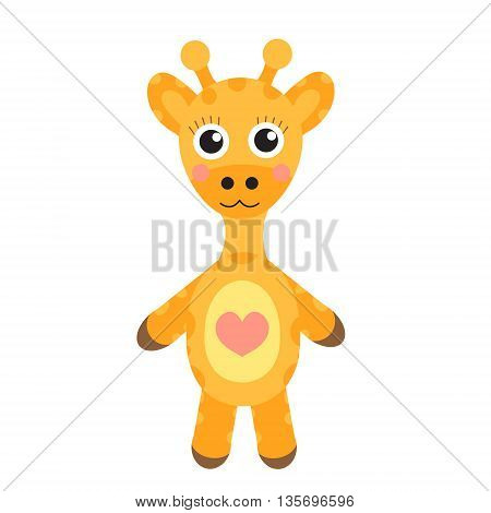 Cute cartoon character giraffe. Baby toy giraffe on a white background isolated. Vector illustration