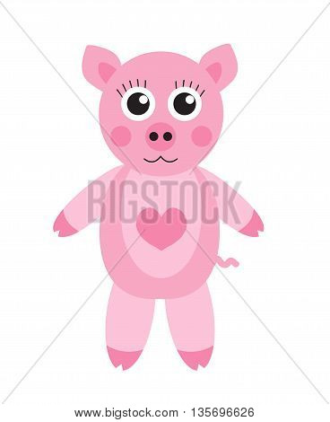Cute cartoon pig character. Children's toy pig on a white background isolated. Vector illustration