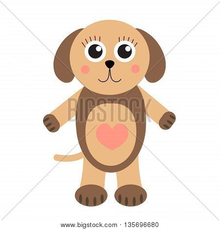 Cute puppy dog cartoon character. Children's toy dog on a white background isolated. Vector illustration