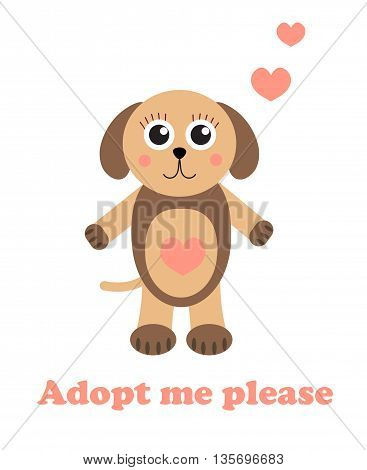 Adopt a dog. Dog adoption concept. Happy dog in cartoon style.