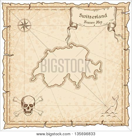 Switzerland Old Pirate Map. Sepia Engraved Template Of Treasure Map. Stylized Pirate Map On Vintage