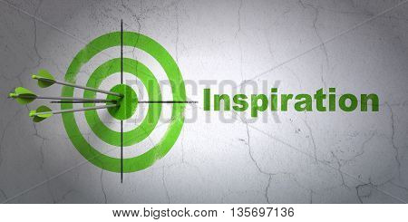 Success advertising concept: arrows hitting the center of target, Green Inspiration on wall background, 3D rendering