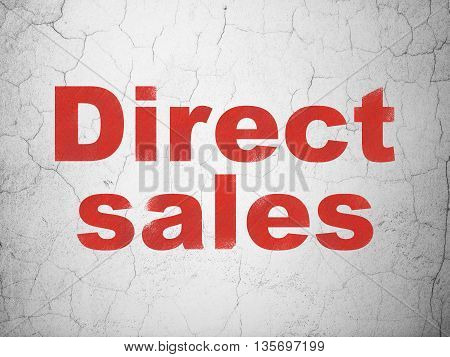 Advertising concept: Red Direct Sales on textured concrete wall background