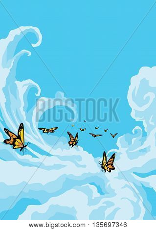 Butterflies Flying in the Cloudy Blue Sky
