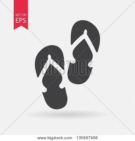 Beach slippers icon. Flip flops sign isolated on white background. Flat design style. Vector illustration