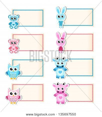 Set animal blank template for text. Cow owl rabbit bear. Blue and pink. Baby invitation. Vector illustration