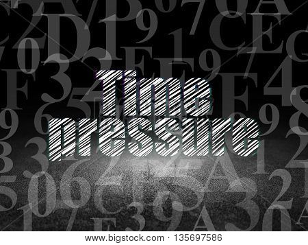 Timeline concept: Glowing text Time Pressure in grunge dark room with Dirty Floor, black background with  Hexadecimal Code