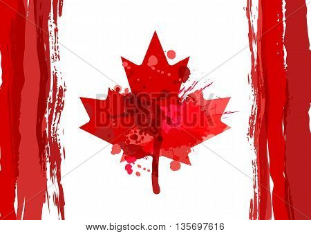 Holiday Poster With Hand Drawn Watercolor Canada Maple Leaf. Happy Canada Day Watercolor Horizontal