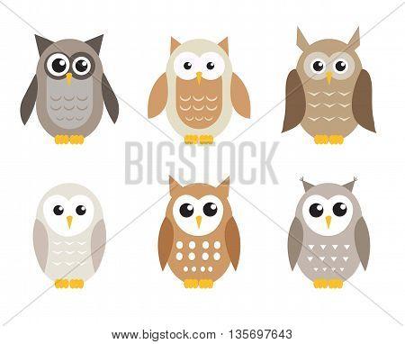 Cute cartoon owl set. Owls in shades of gray. Vector illustration