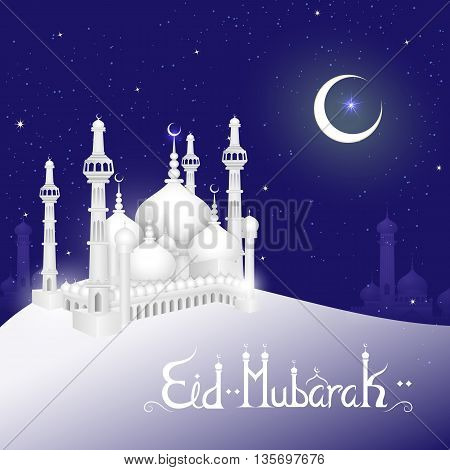 vector illustration of mosque on Eid Mubarak Blessing for Eid background