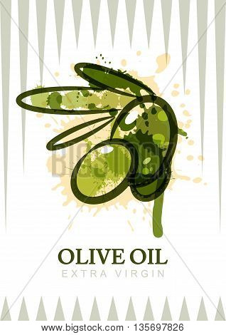 Vector olive oil label design. Watercolor olives isolated illustration. Agriculture organic natural food background. Concept for cosmetics label package menu market banner poster.