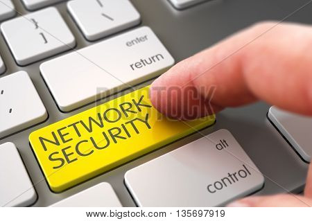 Finger Pressing a Modernized Keyboard Keypad with Network Security Sign. Hand using Modern Keyboard with Network Security Yellow Button, Finger, Laptop. 3D Render.