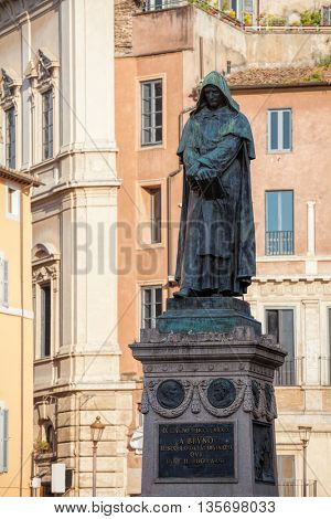 The monument to philosopher Giordano Bruno at the centre of the Campo de Fiori square in Rome Italy