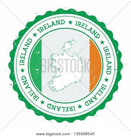 Ireland Map And Flag In Vintage Rubber Stamp Of State Colours. Grungy Travel Stamp With Map And Flag