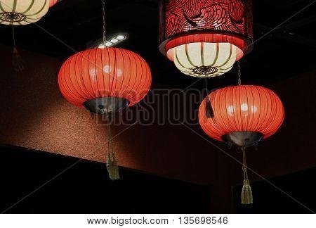 Chinese Red Glowing Pumpkin Lanterns in dark