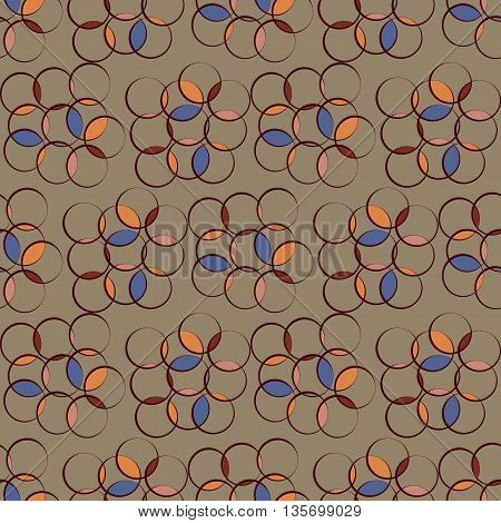 Abstract background vector illustration seamless pattern of colored circles.