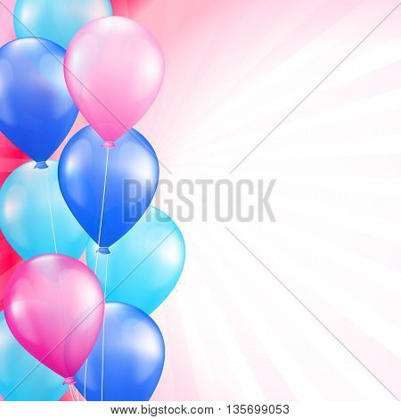 background with bright colorful balloons as a border. vector